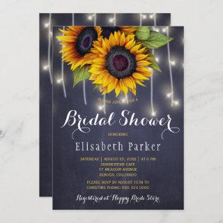 Sunflowers chic rustic string lights bridal shower Invitations
