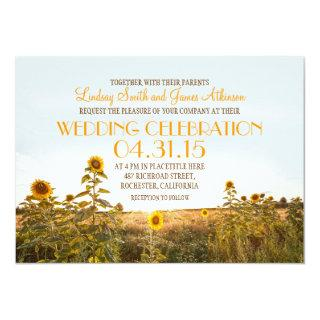 Sunflowers country rustic wedding Invitations