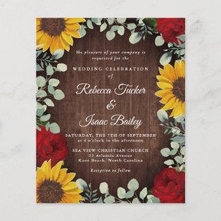 Sunflowers Eucalyptus Red Rose Wood Budget Wedding