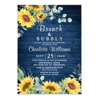 Sunflowers Eucalyptus Watercolor Brunch & Bubbly Invitation