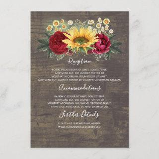 Sunflowers Fall Wedding Details Information Guest Enclosure Card