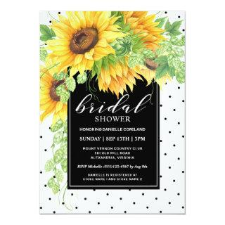 Sunflowers Floral and Polka Dots Bridal Shower Invitation