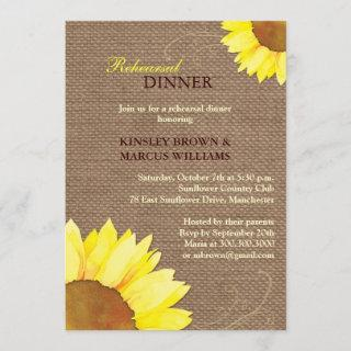 Sunflowers n Burlap Rehearsal Dinner Invitations