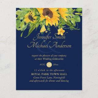 Sunflowers Navy Blue Country Floral Wedding Invite