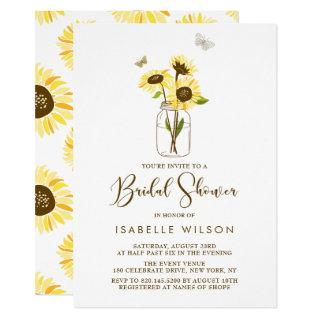 Sunflowers on Mason Jar Summer Bridal Shower Invitations