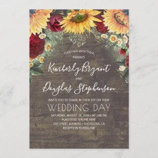 Sunflowers Red Roses Daisies Rustic Wedding Invitations