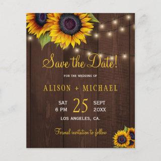 Sunflowers rustic wood budget save date wedding