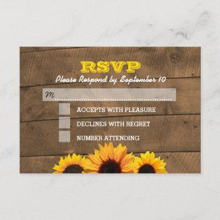 Sunflowers & Rustic Wood Wedding RSVP Card