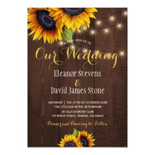 Sunflowers string lights fall trendy wedding invitation