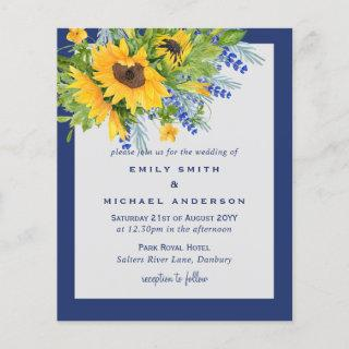 Sunflowers Yellow Blue Floral Wedding Invitations