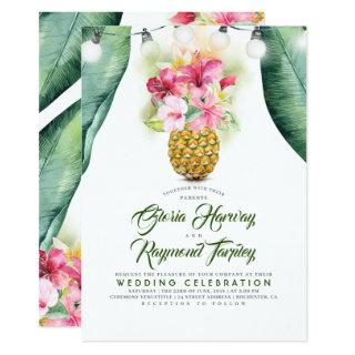 Sunny Pineapple Floral Summer Vase Beach Wedding Invitation