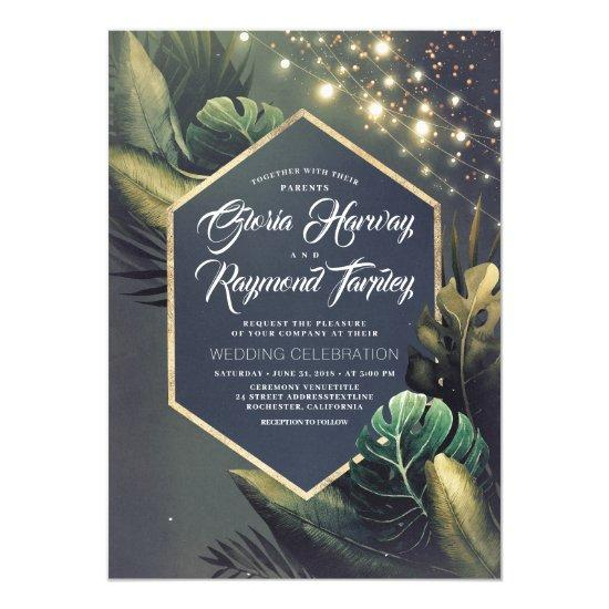 Sunny Pineapple Floral Summer Vase Beach Wedding Invitations