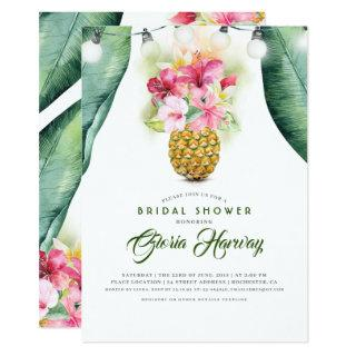 Sunny Pineapple Floral Vase Beach Bridal Shower Invitations
