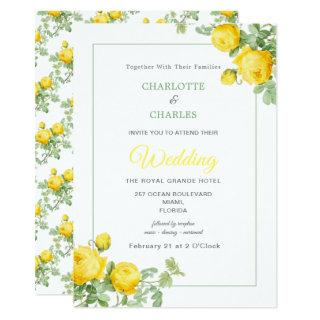 Sunny Yellow Roses Elegant Floral Wedding Invitation
