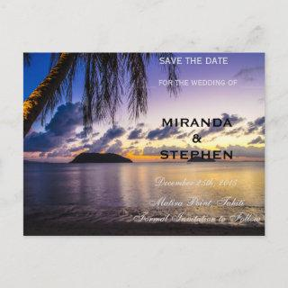 Sunset beach save the date announcement postcard