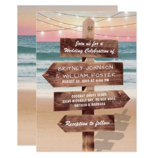 Sunset Beach Tropical Destination Wedding Invitations
