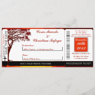 Sunset in Africa Boarding Pass Wedding Invitation