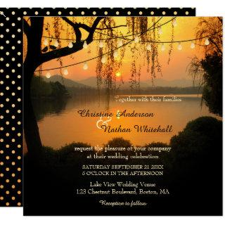 Sunset Lake View String Lights Wedding Invitation