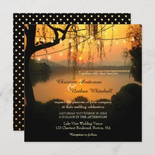 Sunset Lake View String Lights Wedding Invitations