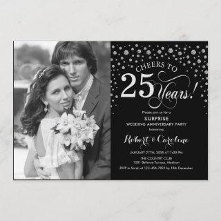 Surprise 25th Anniversary with Photo Black Silver