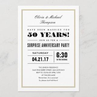 Surprise Anniversary Invitations - Gold Frame