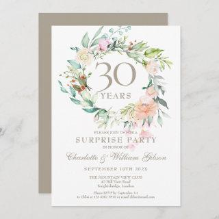 Surprise Party 30th Anniversary Roses Garland  Invitation
