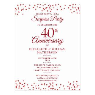 Surprise Party 40th Wedding Anniversary Ruby Heart Postcard