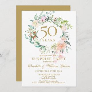 Surprise Party 50th Wedding Anniversary Floral Invitations