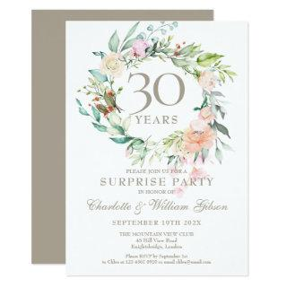 Surprise Party Roses Garland 30th Anniversary Invitation