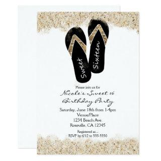 Sweet 16 Flip Flops Sandy Beach Party Invitations
