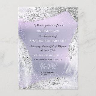 Sweet 16th Bridal Diamond Dress Gray Silver Purple Invitations