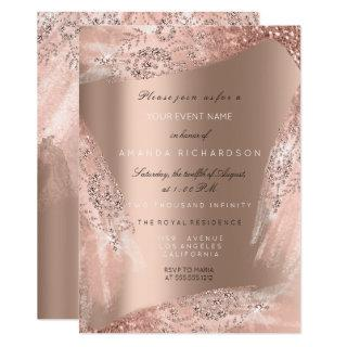 Sweet 16th Bridal Dress Rose Gold Sparkly Invitations