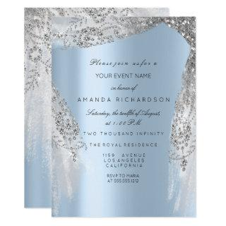 Sweet 16th Bridal Shower Silver Gray Blue Dress Invitations