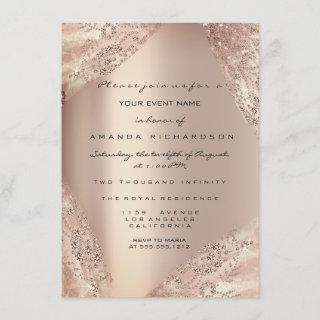 Sweet 16th Dress Spark Rose Gold Ombre Invitations