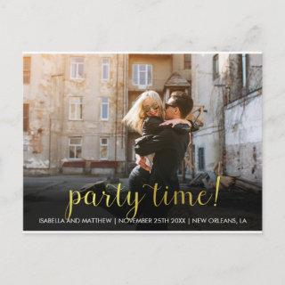 Sweet Antique Gold Party Time! | Custom Photo Invitations Postcard