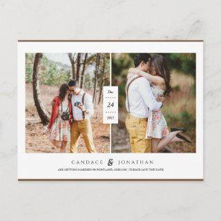 Sweet Black & White Modern Two-Photo Save the Date Announcement Postcard