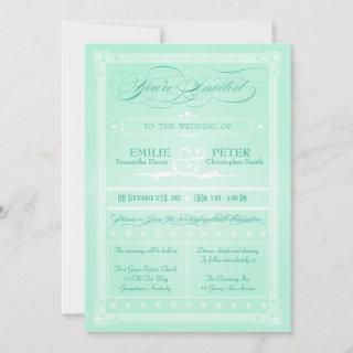 Sweet Mint Green Poster Style Wedding Invitations
