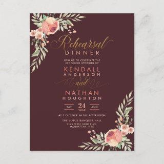 Sweet Roses Watercolor Floral Rehearsal Dinner Invitations Postcard