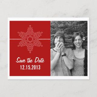 Sweet Snowflake Save the Date Postcard, Red Announcement Postcard