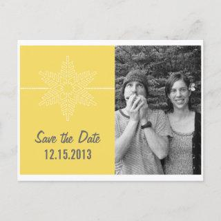 Sweet Snowflake Save the Date Postcard, Yellow Announcement Postcard