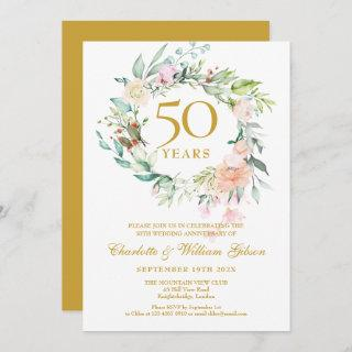 Sweet Summer Roses Garland 50th Anniversary Invitation