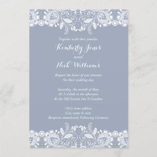 Sweet White Lace Dusty Blue Wedding Invitations