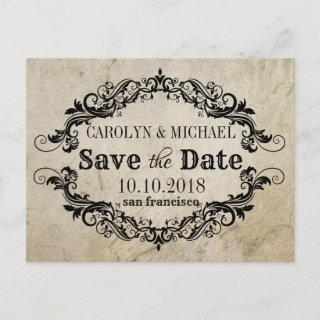 Swirl and Flourish antique Wedding Save the Date Announcement Postcard
