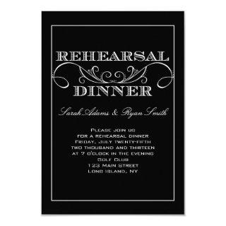 Swirl Black and White Rehearsal Dinner Invitations