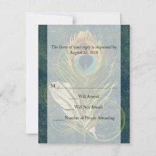 Swirl Peacock Feather -Click to View MATCHING SET- RSVP Card