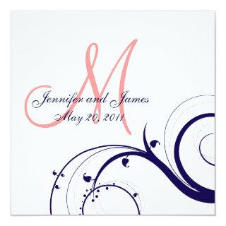 Swirl Wedding Invitations Navy Blue Coral Pink