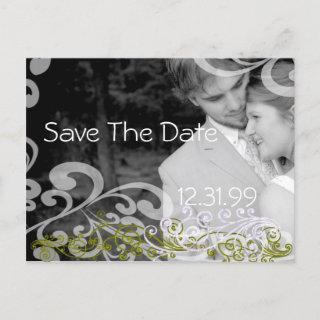 Swirly Photo Save The Date Announcement Postcard
