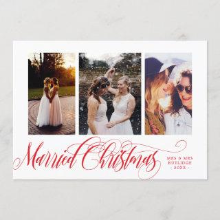 Swirly Red Married Christmas Photo Collage Holiday Card