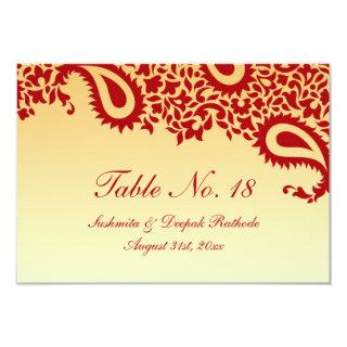 Table Number Paisley Wedding Flat Card