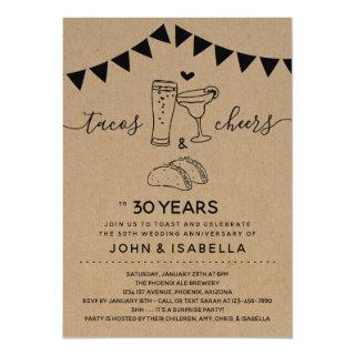 Taco Tequila Cheers & Beers Wedding Anniversary Invitation